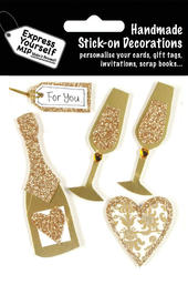 Gold Champagne & Hearts DIY Greeting Card Toppers