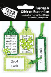 Green Good Luck Tags DIY Greeting Card Toppers