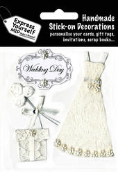 Wedding Day White Dress DIY Greeting Card Toppers