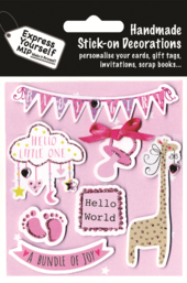 Pink Baby Girl DIY Greeting Card Toppers