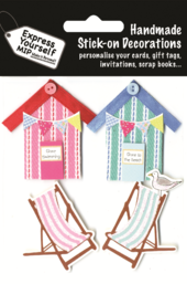Beach Huts Deck Chairs DIY Greeting Card Toppers