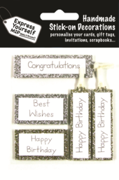 Silver & Gold Birthday Captions DIY Greeting Card Toppers