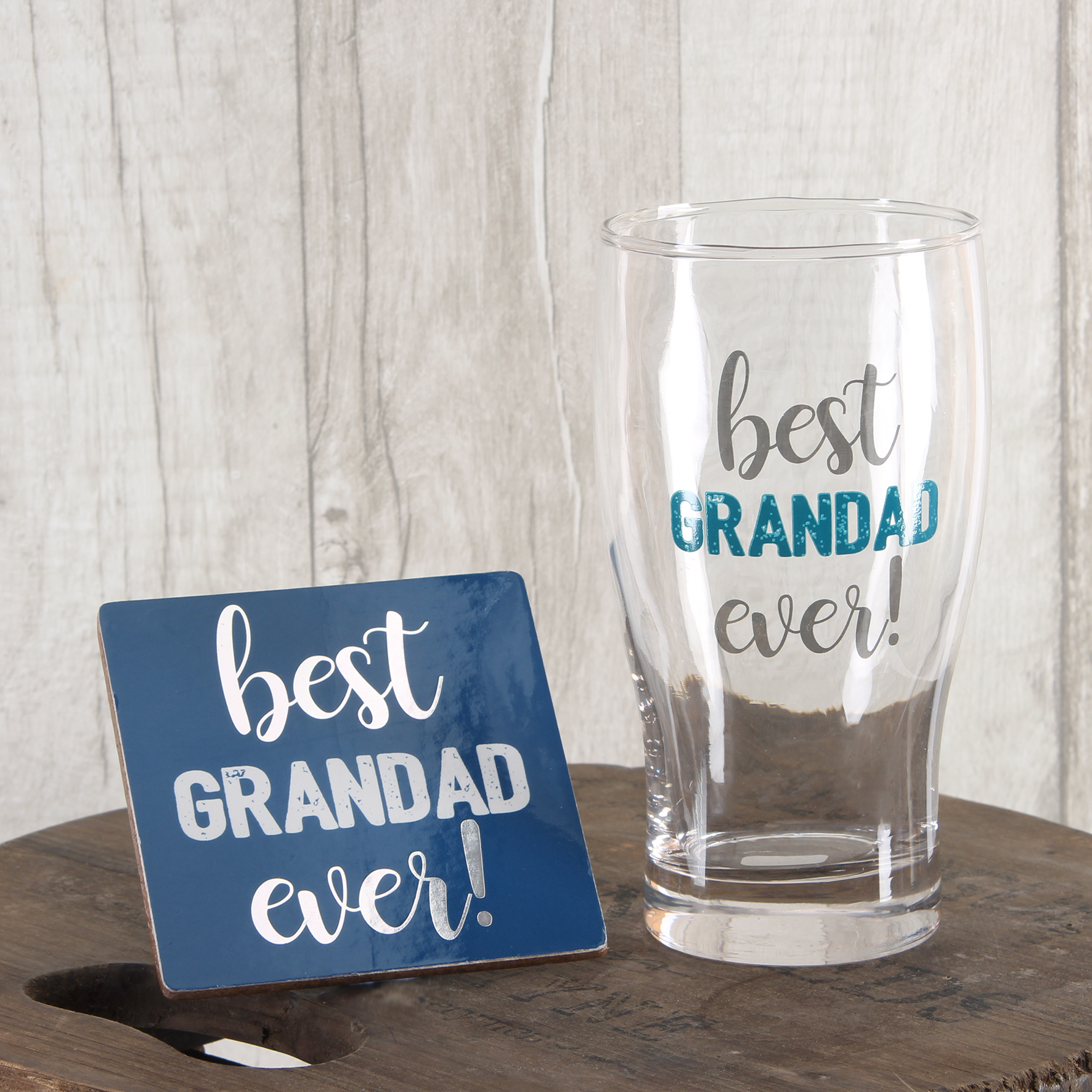 best grandad ever pint glass coaster set in gift box gifts