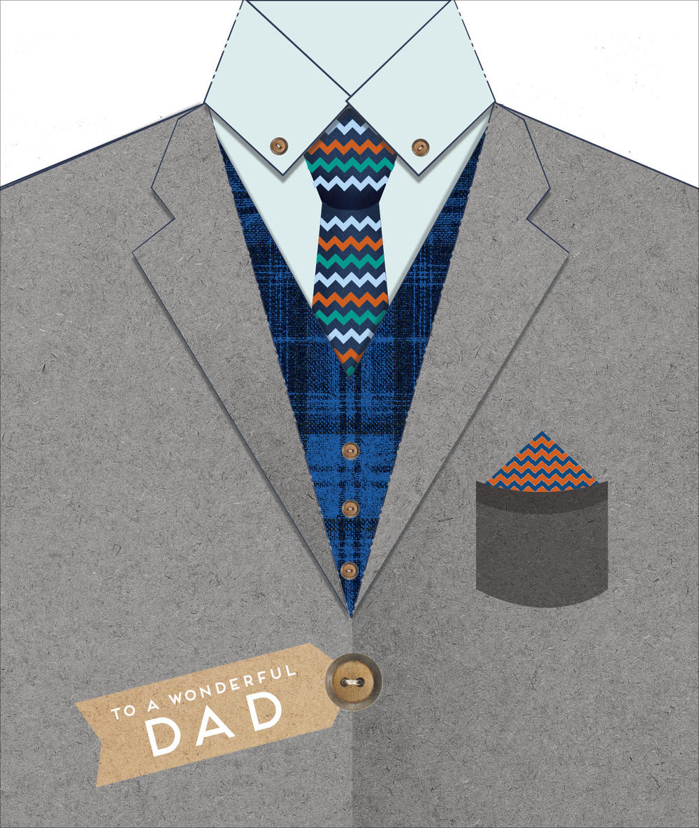 Wonderful Dad Happy Father's Day Card Die Cut Suit Shaped