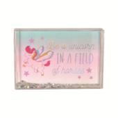 Be A Unicorn Freestanding Glitter Photo Frame