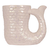 Mermaid Tail Shaped White Iridescent Ceramic Mug Gift