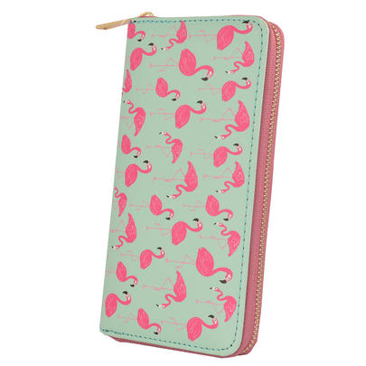 Flamingo Pattern Zip Around Purse