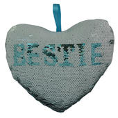 Bestie Heart Shaped Reversible Sequin Cushion With Ribbon
