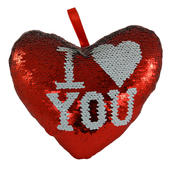 I Love You Heart Shaped Reversible Sequin Cushion With Ribbon