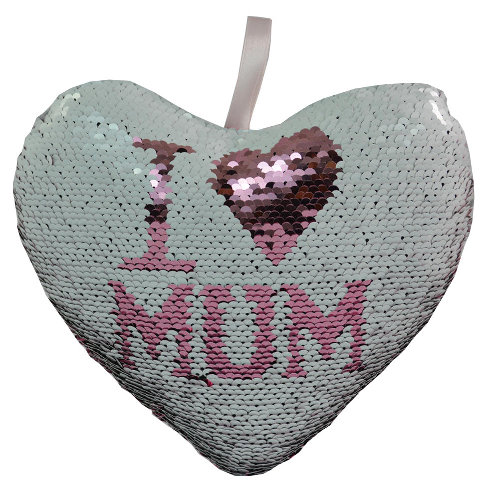 I Love Mum Heart Shaped Reversible Sequin Cushion With Ribbon