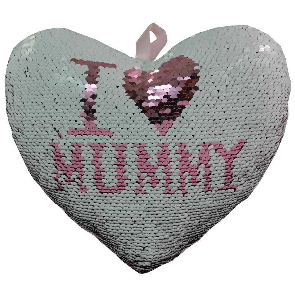 I Love Mummy Heart Shaped Reversible Sequin Cushion With Ribbon