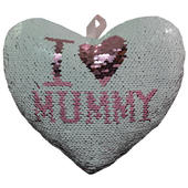 I Love Mummy Heart Shaped Reversible Sequin Cushion With Ribbon