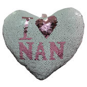 I Love Nan Heart Shaped Reversible Sequin Cushion With Ribbon