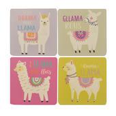 Set Of 4 Llama Mug Coasters Novelty Gift
