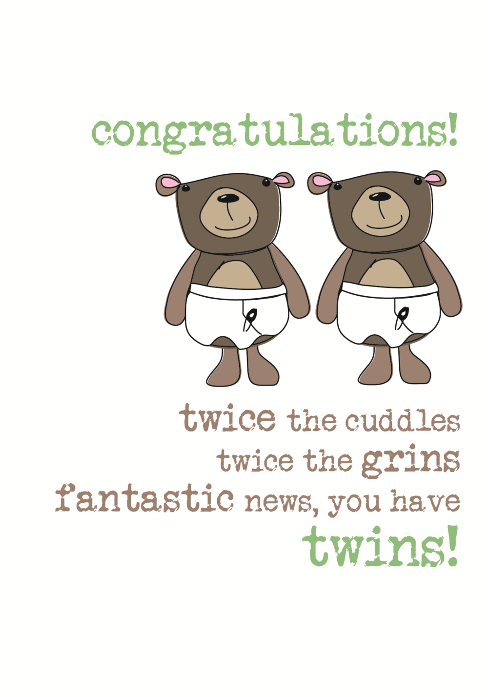 New Baby Twins Sparkle Finished Greeting Card