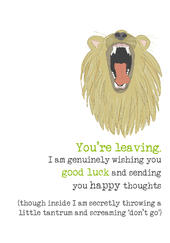 You're Leaving Sparkle Finished Greeting Card