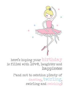 Birthday Ballerina Sparkle Finished Greeting Card