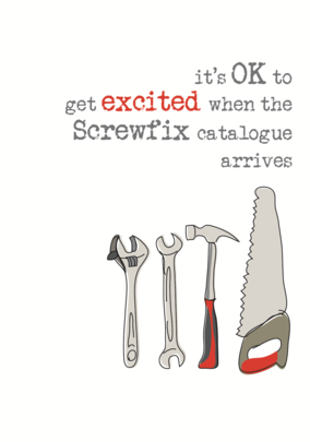 Screwfix Excitement Sparkle Finished Greeting Card