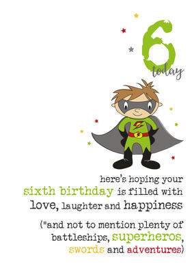 6th Birthday Superhero Sparkle Finished Greeting Card