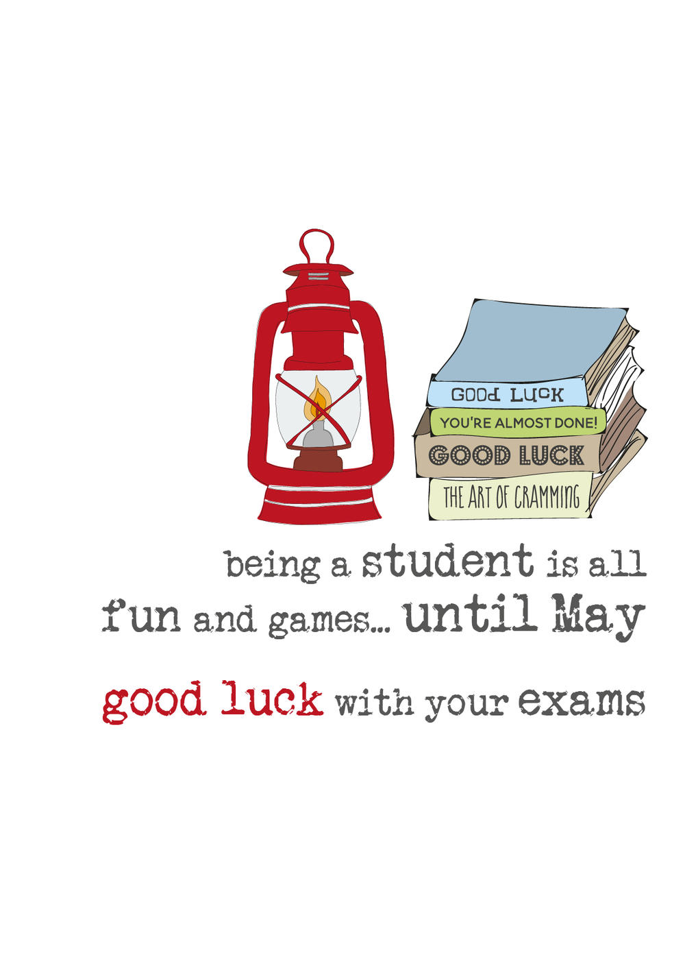 Good Luck Exams Sparkle Finished Greeting Card