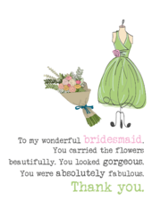 Bridesmaid Thank You Sparkle Finished Greeting Card