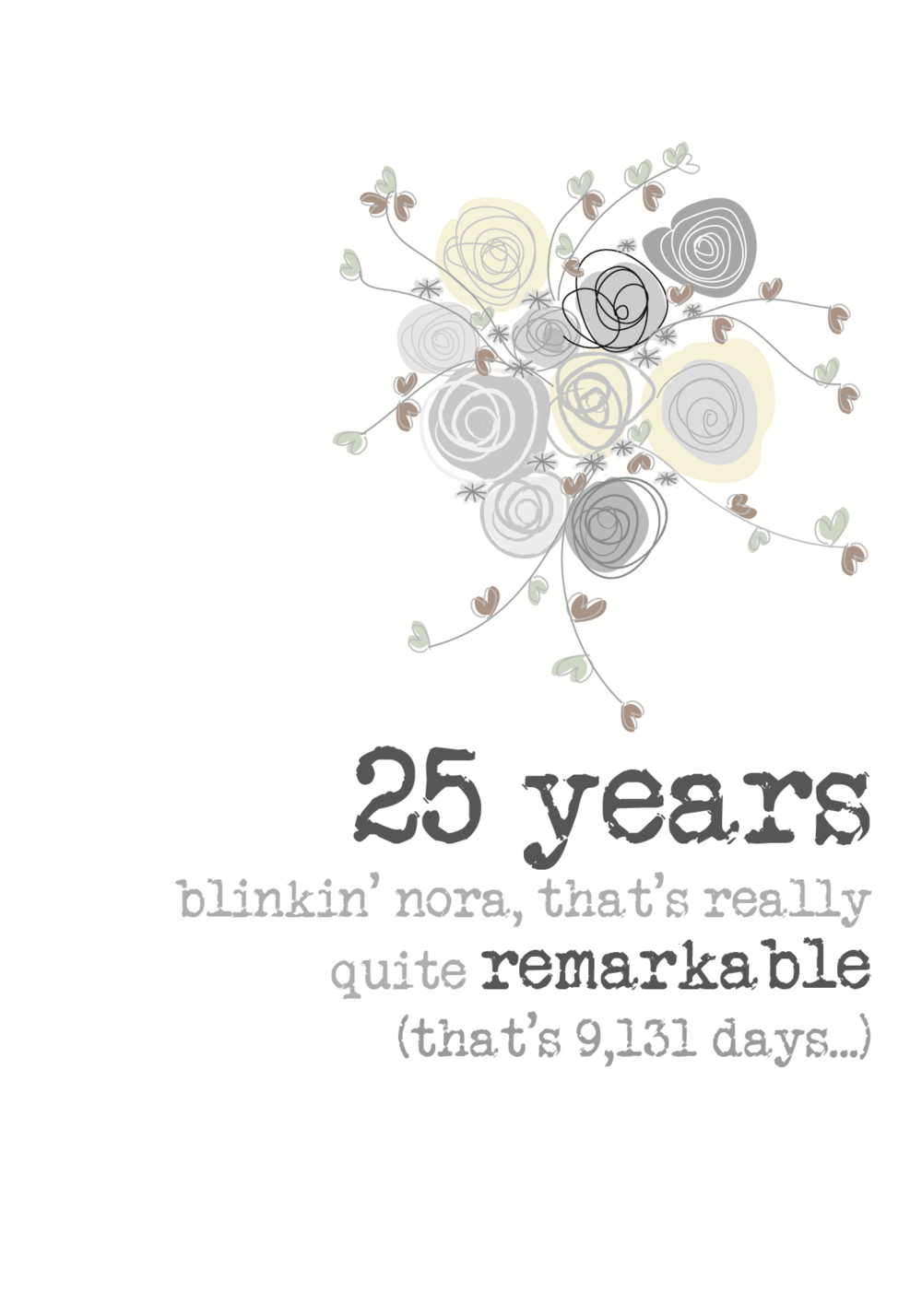 25th Anniversary Sparkle Finished Greeting Card