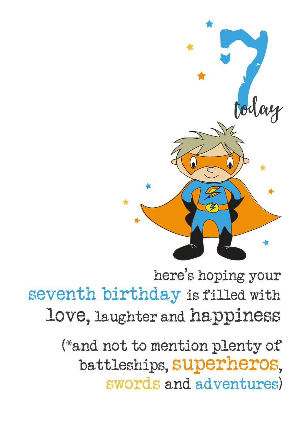 7th Birthday Superhero Sparkle Finished Greeting Card