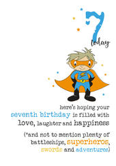 7th Birthday Superhero Sparkle Finished Greeting Card