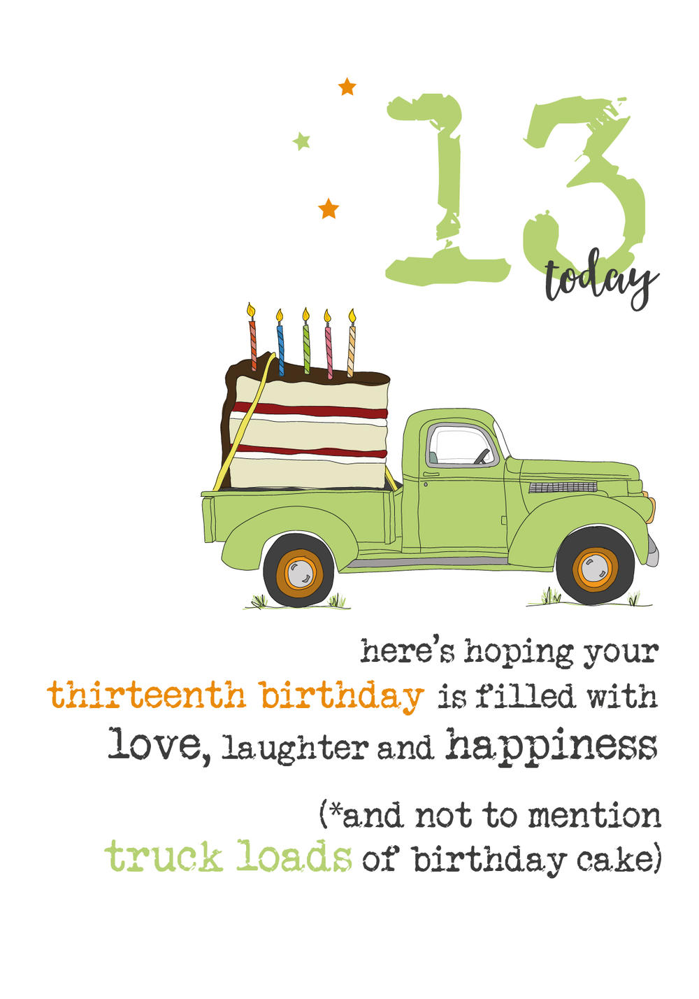 13th Birthday Sparkle Finished Greeting Card