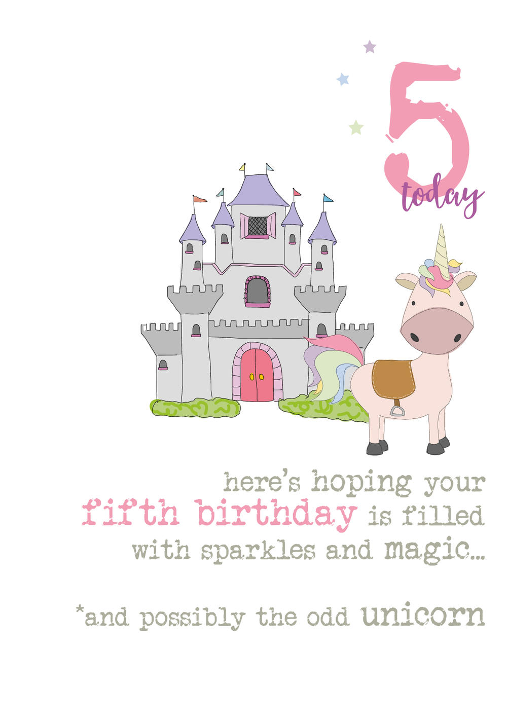 5th Birthday Unicorn Sparkle Finished Greeting Card