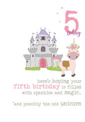 5th Birthday Unicorn Sparkle Finished Greeting Card