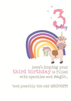 3rd Birthday Unicorn Sparkle Finished Greeting Card