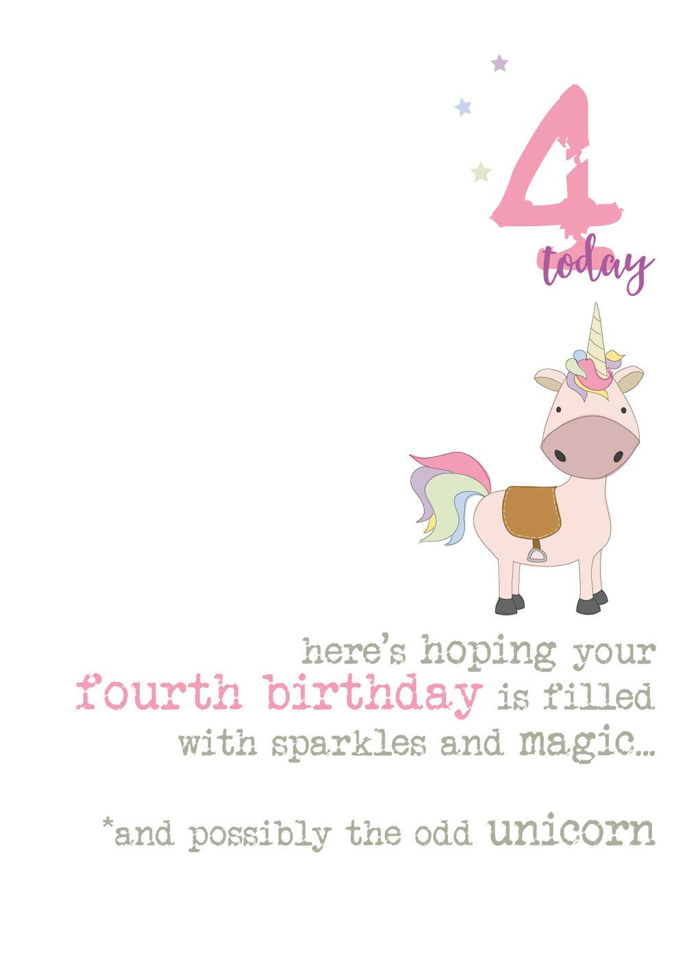 4th Birthday Unicorn Sparkle Finished Greeting Card