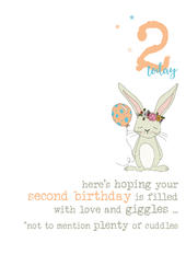 2nd Birthday Bunny Sparkle Finished Greeting Card