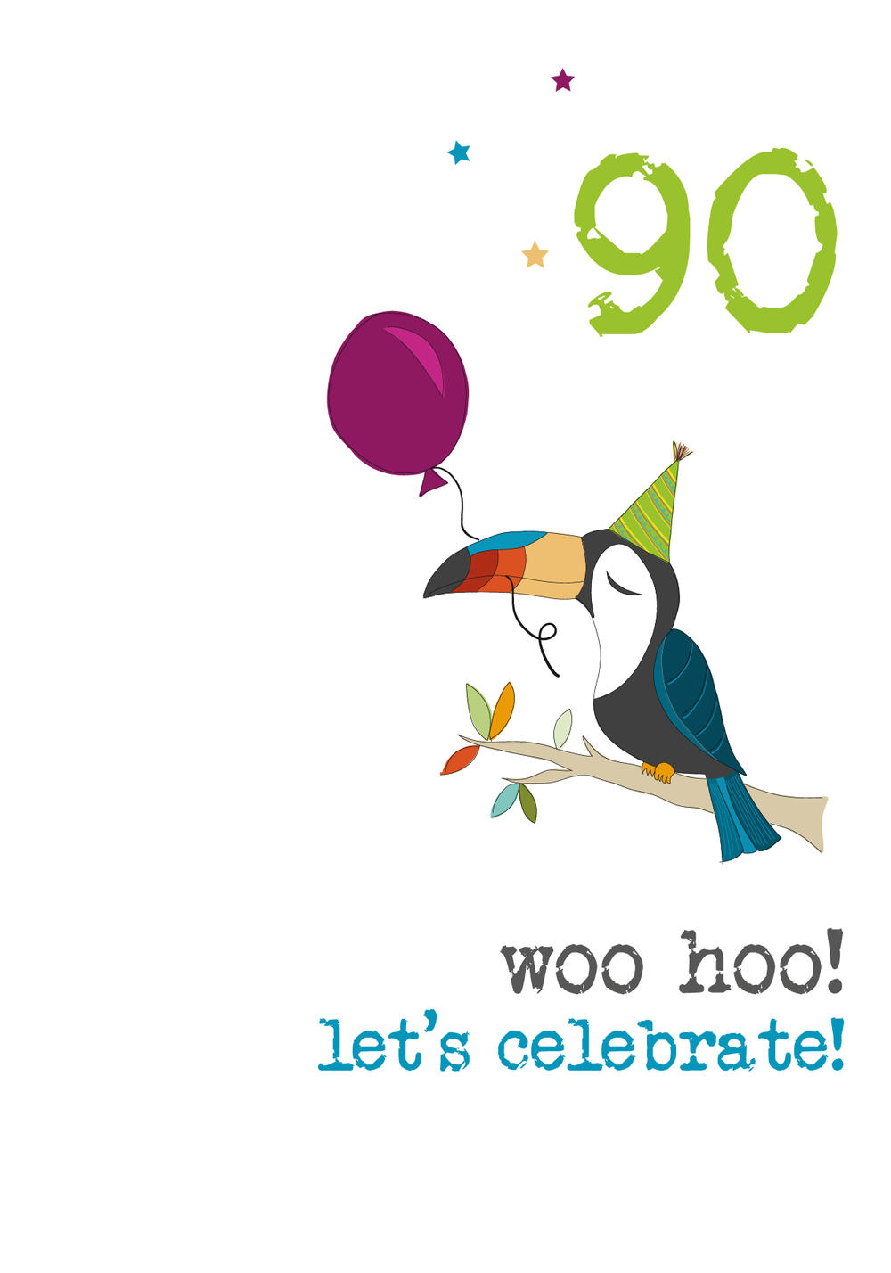 90th Birthday Woo Hoo Sparkle Finished Greeting Card