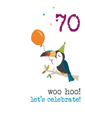 70th Birthday Woo Hoo Sparkle Finished Greeting Card