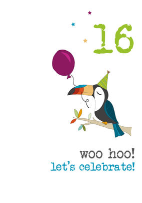 16th Birthday Woo Hoo Sparkle Finished Greeting Card