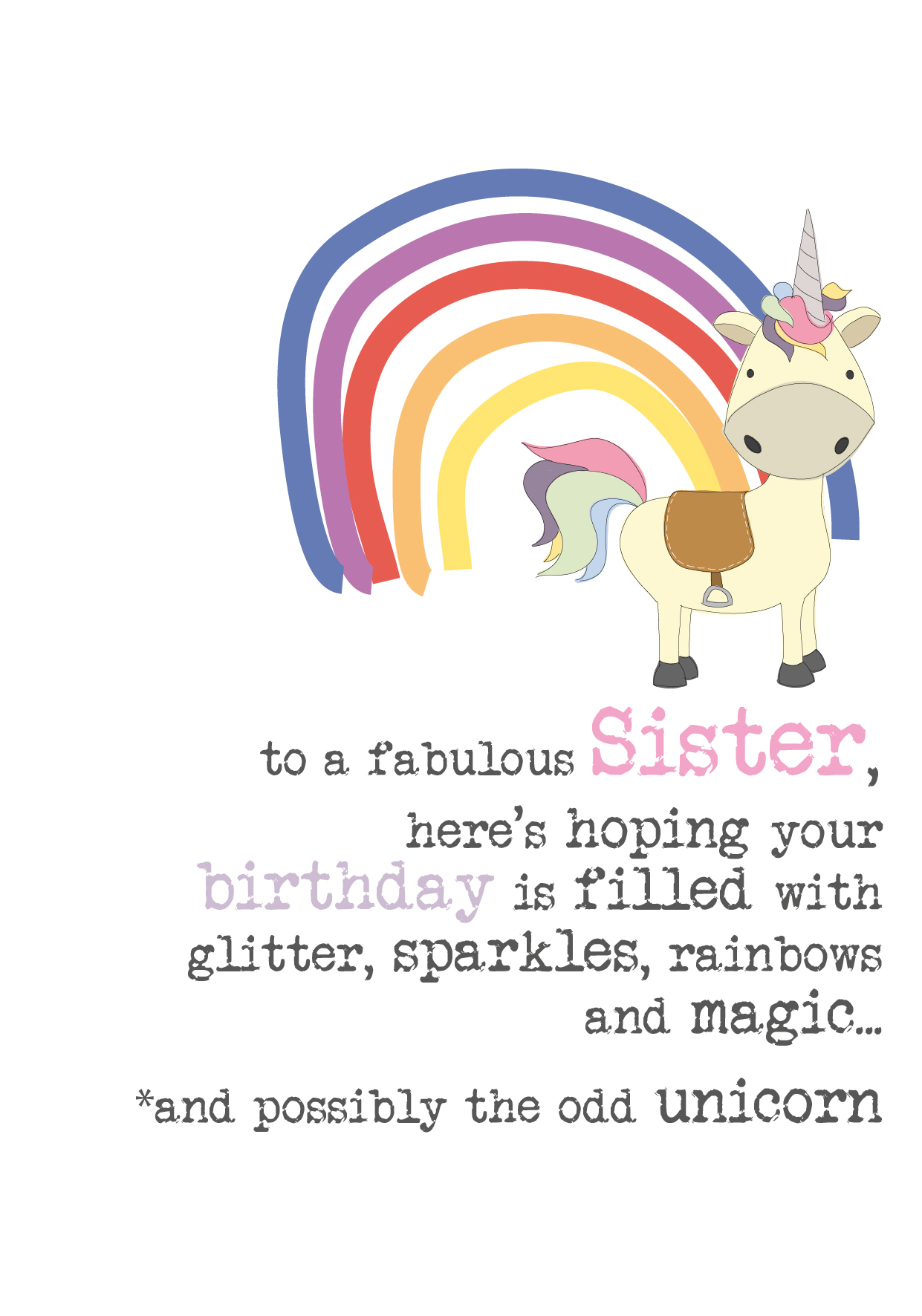 Sister Birthday Unicorn Sparkle Finished Greeting Card Cards