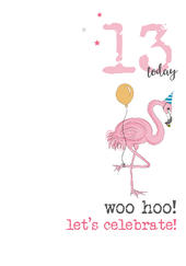 13th Birthday Woo Hoo Sparkle Finished Greeting Card