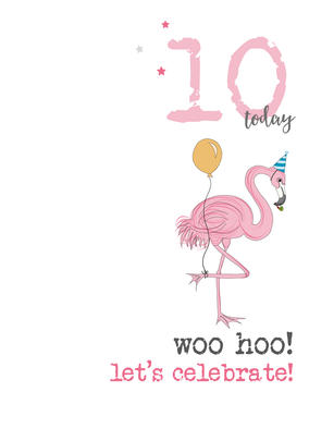 10th Birthday Woo Hoo Sparkle Finished Greeting Card