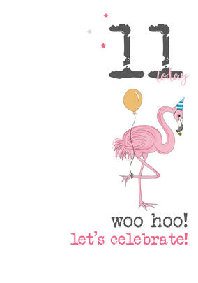 11th Birthday Woo Hoo Sparkle Finished Greeting Card