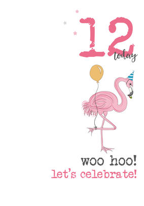12th Birthday Woo Hoo Sparkle Finished Greeting Card