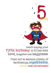5th Birthday Superhero Sparkle Finished Greeting Card