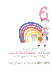 6th Birthday Unicorn Sparkle Finished Greeting Card