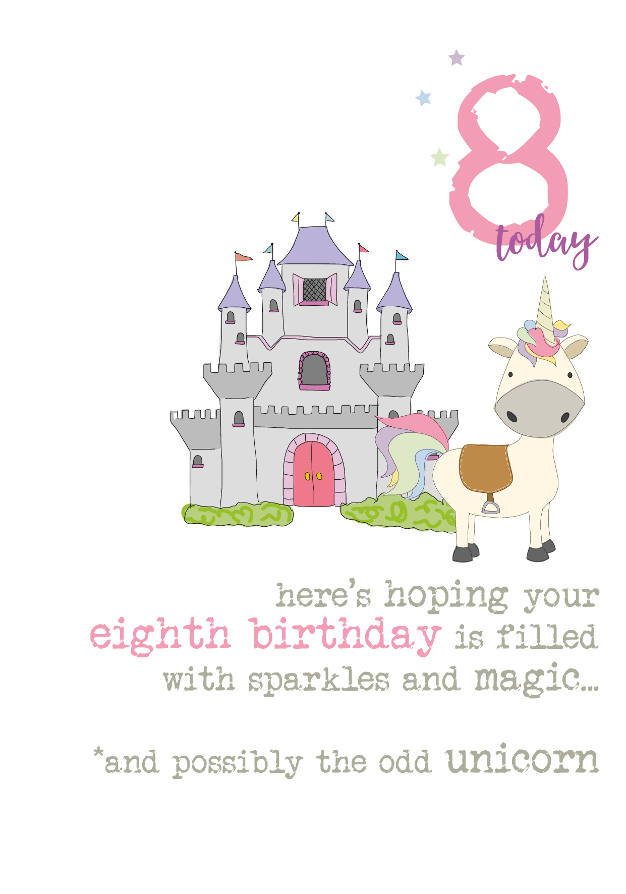 8th Birthday Unicorn Sparkle Finished Greeting Card
