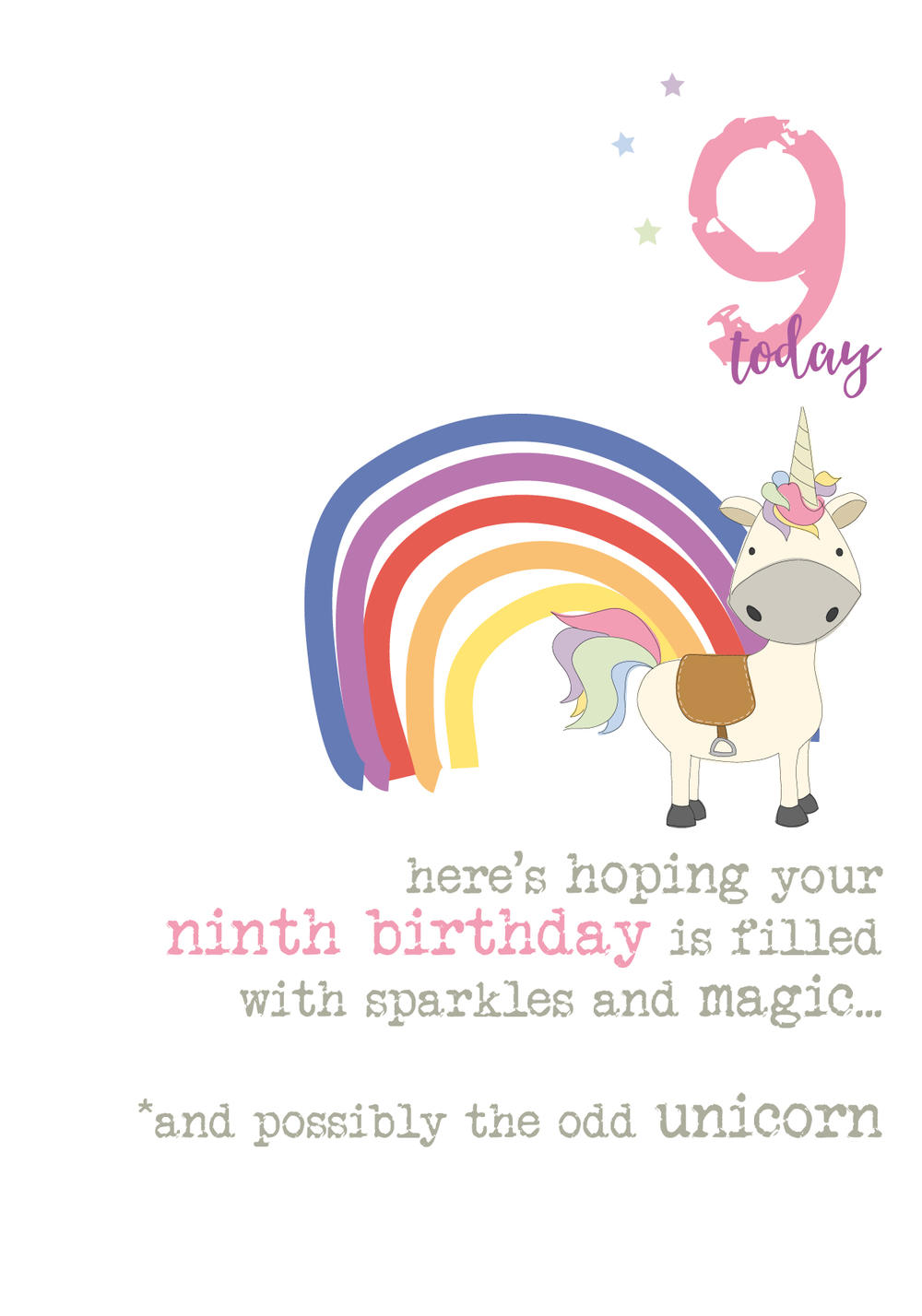 9th Birthday Unicorn Sparkle Finished Greeting Card
