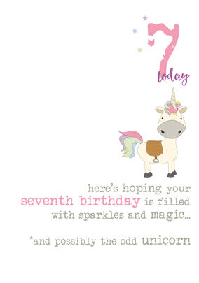 7th Birthday Unicorn Sparkle Finished Greeting Card