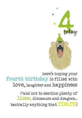 4th Birthday Sparkle Finished Greeting Card