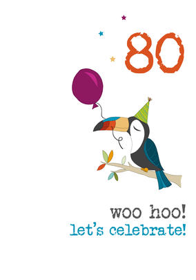 80th Birthday Woo Hoo Sparkle Finished Greeting Card