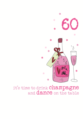 60th Birthday Champagne Sparkle Finished Greeting Card